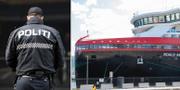 Norsk polis och det virusdrabbade fartyget. TT