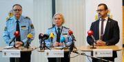 Stefan Sintéus (polisområdeschef), Carina Persson (regionschef polisen) och Per-Erik Ebbeståhl, (trygghet- och säkerhetsdirektör Malmö Stad).  Andreas Hillergren/TT