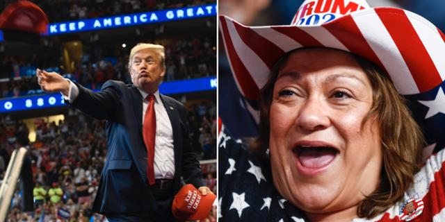Trump slänger ut kepsar till anhängare under ett kampanjtal/en Trump-supporter. TT