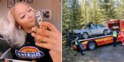 Julia Hellman (bilden tagen innan olyckan)/Bilen vid olycksplatsen. Privat/TT