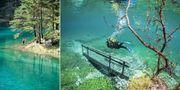 Grüner See utanför byn Tragöess i de österrikiska Alperna kommer och går som den vill. Wikicommons