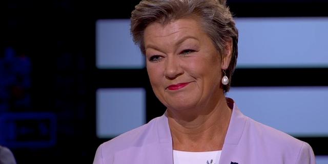 Ylva Johansson (S). SVT/Skärmdump
