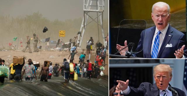 Bild från Del Rio vid USA:s gräns mot Mexiko / Joe Biden och Donald Trump. TT