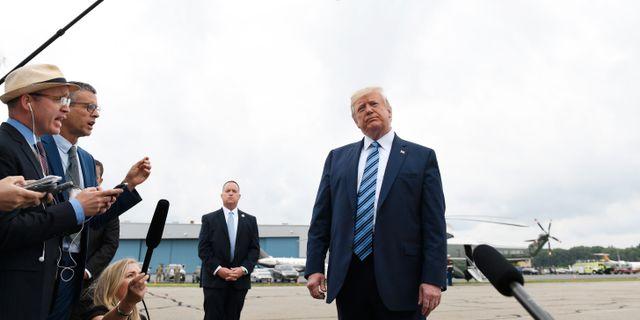 Donald Trump vid mediauppbåd.  Susan Walsh / TT NYHETSBYRÅN/ NTB Scanpix