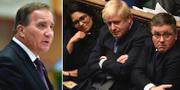Stefan Löfven och Storbritanniens premiärminister Boris Johnson.  TT