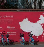 En karta som visar Evergrandes utvecklingsprojekt i Kina i Peking, september 2021.  Andy Wong / TT NYHETSBYRÅN