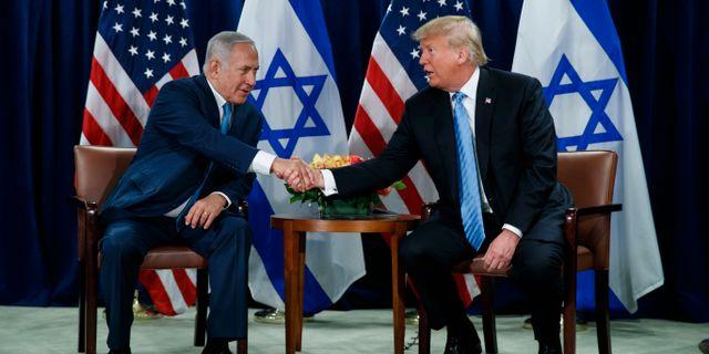 Israels premiärminister Benjamin Netanyahu och USA:s president Donald Trump. Evan Vucci / TT NYHETSBYRÅN/ NTB Scanpix