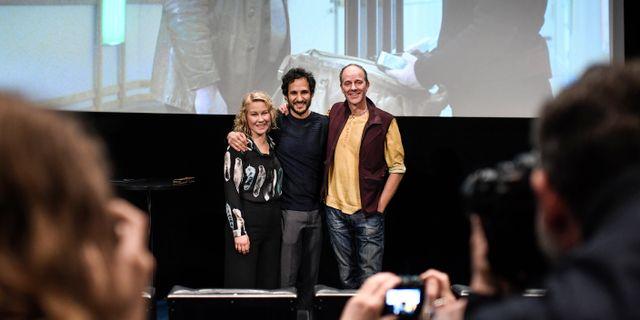 Skådespelaren Eva Melander, Regissören Ali Abbasis, manusförfattaren John Ajvide Lindqvist som med filmen Gräns som vann den prestigefyllda sektionen Un Certain. Pontus Lundahl/TT / TT NYHETSBYRÅN