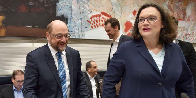 Martin Schulz och Andrea Nahles. BRITTA PEDERSEN / DPA