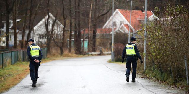 Poliser söker efter den försvunna Wilma Andersson i ett villaområde i Ljungskile. Adam Ihse/TT / TT NYHETSBYRÅN