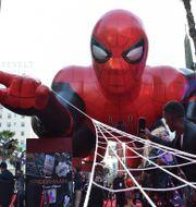 """Arkivbild. En uppblåsbar Spindelmannen vid premiären av filmen """"Spider-Man: Far From Home"""", 2019.  CHRIS DELMAS / AFP"""