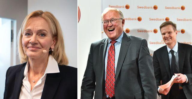 Handelsbankens vd Carina Åkerström/Swedbanks Göran Persson och Jens Henriksson. TT