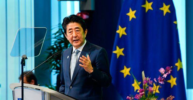 Arkivbild: Japans premiärminister Shinzo Abe.  JOHN THYS / AFP