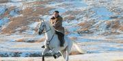 Kim Jong-Un till häst.  STR / KCNA VIA KNS