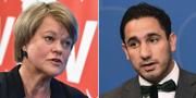 Vänsterpartiets ekonomisk-politiska talesperson Ulla Andersson och civilminister Ardalan Shekarabi (S). TT