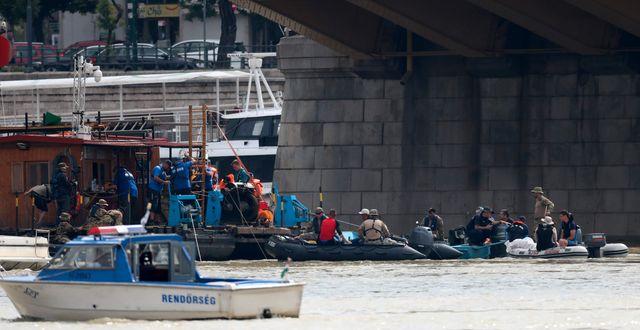 Dykare arbetar på olycksplatsen. FERENC ISZA / AFP