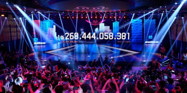 Värdet på försäljningen på skärmar under Alibabas  tv-sända singles day-jippo. ALY SONG / TT NYHETSBYRÅN