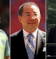 Kasper Schmeichel, Vichai Srivaddhanaprabha och Theresa May.  TT.