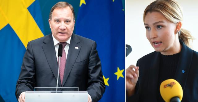Statsminister Stefan Löfven (S) och KD:s partiledare Ebba Busch.  TT