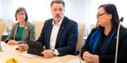 Daniel Bernmar (V), Karin Pleijel (MP) och Stina Svensson (Fi). Thomas Johansson/TT / TT NYHETSBYRÅN