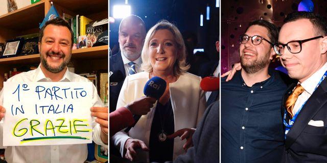 Matteo Salvini/Marine Le Pen/Jimmie Åkesson. TT