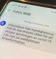 Inrikesminister Mikael Damberg och digitaliseringsminister Anders Ygeman om sms:et som skickas ut. TT/Omni