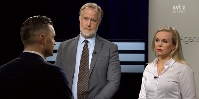 Linda Snecker (V), Johan Pehrson (L) och Adam Marttinen (SD) finns på plats.  SVT