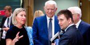 Federica Mogherini, Rumäniens utrikesminister Teodor Melescanu och Ukrainas utrikesminister Pavlo Klimkin.  FRANCOIS LENOIR / TT NYHETSBYRÅN