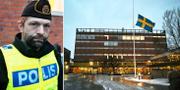Polisen Andreas Brånstad till vänster. Flaggan vajar på halv stång utanför Enskede gårds gymnasium.  TT