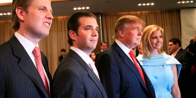 Donald Trump tre av hans barn: Eric, Donald Jr och Ivanka Trump. Arkivbild. Mark Lennihan / TT / NTB Scanpix