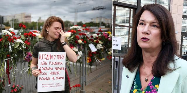 Demonstrant i Minsk, Belarus/Utrikesminister Ann Linde TT