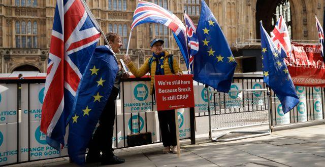 Anti-brexit-supportrar utanför parlamentet i London. Matt Dunham / TT NYHETSBYRÅN