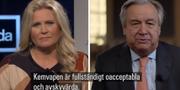 Camilla Kvartoft och António Guterres i Agenda.  SVT