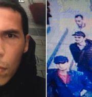 Den misstänkte gärningsmannen bakom attacken på nattklubben Reina i Istanbul/Övervakningsbilder som visar de misstänkta bakom attacken mot flygplatsen i Istanbul.  AP
