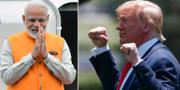 Narendra Modi och Donald Trump. TT.