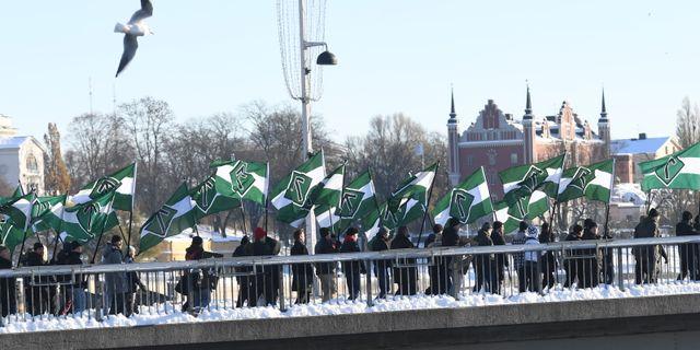 Nordiska motståndsrörelsens demonstration i Stockholm, 21 mars.  Fredrik Sandberg/TT / TT NYHETSBYRÅN