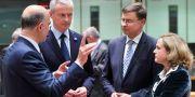 Illustrationsbild: EU:s kommissionärer Pierre Moscovici och Valdis Dombrovskis, samt Frankrikes finansminister Bruno Le Maire och Spaniens finansminister Nadia Calviño.  EMMANUEL DUNAND / AFP