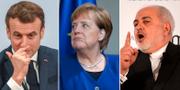 Emmanuel Macron / Angela Merkel / Javad Zarif CHRISTOF STACHE/ HANNIBAL HANSCHKE/ AFP/ Jens Meyer / TT NYHETSBYRÅN