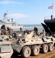 Ryska militärfordon på Krim. TT NYHETSBYRÅN