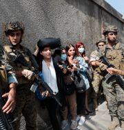 Soldater skyddar en grupp lärare vid en skola i Beirut på torsdagen. Hussein Malla / TT NYHETSBYRÅN