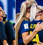 Elin Rubensson tröstar Hanna Glas/Magdalena Eriksson och Glas. Bildbyrån