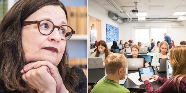 Anna Ekström (S) och ett klassrum.  TT
