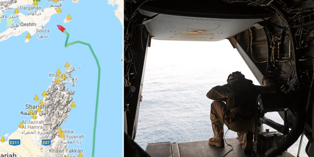 Fartygets rutt enligt marinetraffic.com/arkivbild på en amerikansk marinsoldat. Marinetraffic.com/TT