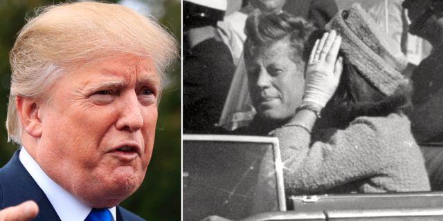 Trump/John F Kennedy och hustrun Jaqueline Kennedy på morddagen 1963. TT