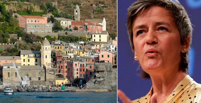 Illustrationsbild Cinque Terre/Margrethe Vestager. TT