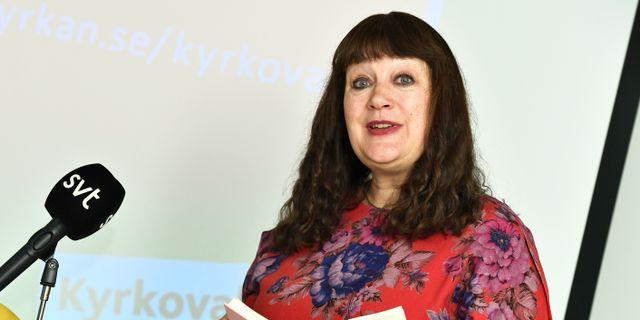 Karin Perers på en pressträff i Stockholm om valresultatet Claudio Bresciani/TT / TT NYHETSBYRÅN