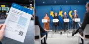 Folkhälsomyndighetens informationsblad som delades ut i Malmö/Regeringen och Folkhälsomyndigheten håller presträff. TT