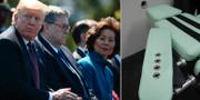 Donald Trump och William Barr, tillsammans med USA:s transportminister Elaine Chao/avrättningsrum i San Quentin, Kalifornien. TT