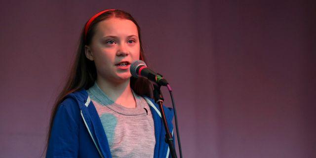 Greta Thunberg i London. HANNAH MCKAY / TT NYHETSBYRÅN