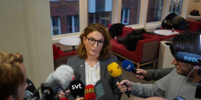 Chefsåklagare Caroline Fransson vid häktningsförhandlingen under fredagseftermiddagen. Adam Ihse/TT / TT NYHETSBYRÅN